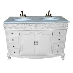 Photo Image ANTIQUE WHITE SHABBY CHIC FRENCH BATHROOM DOUBLE VANITY UNIT SINK DRAWERS eBay