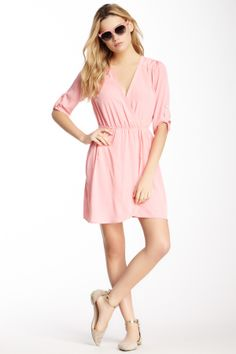 Pink Owl Front Wrap Dress