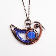 RESERVED FOR C  Copper Wire Wrapped Bluebird Necklace
