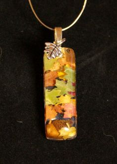 Leaf Necklace Leaves and Acorn Bud in Resin Pendant by GreyGyrl, $14.00