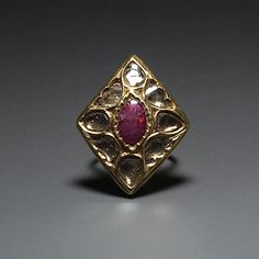 A Diamond And Ruby Ring, South India  Early 19th Century