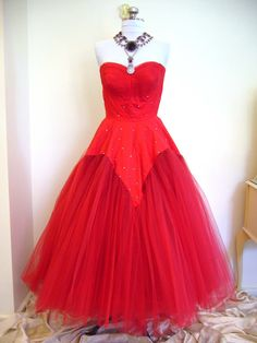 BURLESQUE 1950s Bombshell Valentines Red Confection by Poshporscha, $295.00