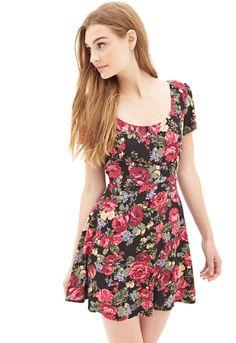 Woven Floral Skater Dress