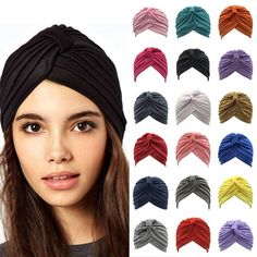 Women Stretch Dance Hairband Head Wrap Print Turban Cap Cotton Retro Gym