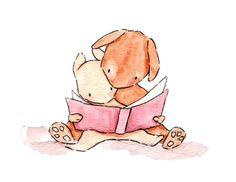 Just Reading  8x10 Bunny Rabbit Nursery Art Print by ohhellodear, $20.00