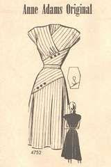 1940's Anne Adams Surplice, Diagonal Inset Dress Pattern Bust 40  Pattern sold for $55!!