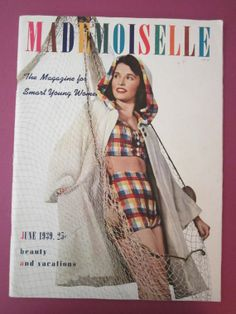June 1939. ❤️ the rainbow plaid swimsuit and coverup on the cover!