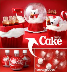 Enjoy Cake.  Such a cute and clever idea.  #Christmas #Cupcakes  #Coke
