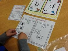 Lots of literacy centers to practice identifying the letter b vs d!