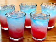 | Bomb Pop Shots | 1/3 oz. Sprite, 1/3 oz. lemon vodka, 2/3 oz. blue curacao, 2/3 oz. grenadine, Ice. Shake the Sprite and Vodka with the ice to chill it, Strain into shot glass, Using a spoon, gently layer the Blue Curacao over the vodka, Tilt the glass slightly and pour the grenadine down the side so it layers on the bottom