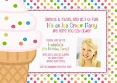 Items similar to Ice Cream Parlor Kids Photo Birthday Party Invitations 6th Birthday Parties, Girl Birthday, Birthday Cards, Photo Birthday Invitations, Baby Shower Invitations, Ice Cream Invitation, Ice Cream Kids, Custom Labels, Custom Photo