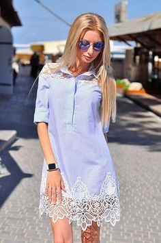 Long shirt dress with lace embellishments Unique Formal Dresses, Trendy Dresses, Elegant Dresses, Sexy Dresses, Blue Dresses, Dress Outfits, Casual Dresses, Short Dresses, Fashion Dresses