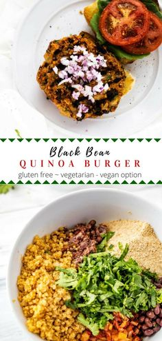 For a healthy lunch or dinner try a Black Bean Quinoa Burger! This easy recipe is gluten free and loaded with spices. These quinoa black bean burgers are perfect for Meatless Monday. Vegetarian with a vegan option. Vegan Bean Burger, Black Bean Quinoa Burger, Vegan Burgers, Black Burger, Quinoa Veggie Burger, Veggie Recipes, Vegetarian Recipes, Healthy Recipes, Vegetarian Lunch