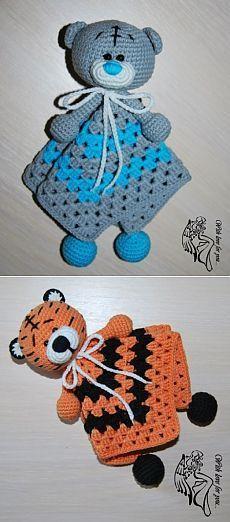 Комфортер мишка Тэдди / Мир игрушки / Вязаные игрушки. Мастер-классы, схемы, описание. Crochet Elephant Pattern, Crochet Dinosaur, Easter Crochet Patterns, Crochet Blanket Patterns, Crochet Security Blanket, Crochet Lovey, Baby Blanket Crochet, Crochet Toys, Diy Crafts Crochet