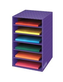 """Bankers Box® 6 Shelf Organizer - The Bankers Box® 6 Shelf Organizer stores, protects, and organizes printouts, reading materials, assignments, and art supplies in the classroom. Sturdy multi-layer construction plus easy assembly. External unit dimensions: 18""""H x 12""""W x 13 1/4""""D. 60% recycled content."""