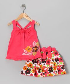 Take a look at this Coral 'Princess' Tank & Ruffle Skirt - Infant, Toddler & Girls by Littoe Potatoes on #zulily today!