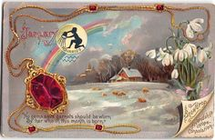 Tuck Embossed Postcard Birthday Greetings Red Garnets and Aquarius Sign~108122 #Birthday