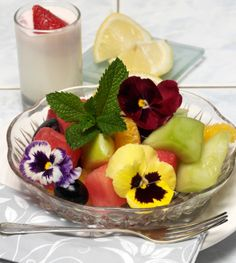 Edible flower and fruit salad