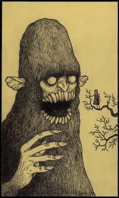 The Quiet Fanatics: John Kenn Mortensen Post-It Art Monster Illustration, Art Et Illustration, Illustrations, Monster Drawing, Monster Art, Arte Horror, Horror Art, Art Post-it, Don Kenn