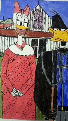 American Gothic Parody Daisy and Daffy Duck American Gothic House, American Gothic Parody, Secondary School Art, Madonna, Art Grants, Grant Wood, Mona Lisa, 5th Grade Art, Famous Art