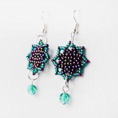 Beaded earrings  Beadweaving Stars Bright Peacock by MartaJewelry,