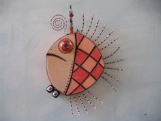 Angel Fish 2, Original Found Object Sculpture, Wood Carving, Wall Art, by Fig Jam Studio