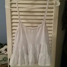 White tiered tank top Super soft and cute, like the brandy jada as a shirt! Tops Tank Tops
