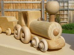Wood Toy Train.  All Natural  Unfinished.  Gotta love the old-fashioned toys.