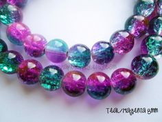 105 Pieces of 8mm Teal and Magenta Glass Crackle Beads by ShipshapeSupply, $8.00