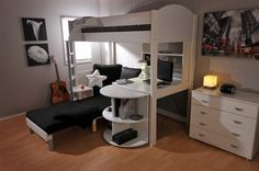 50 Quality and Modern Bunk Beds for Children - Bunk Bed With Pull out Desk and Futon