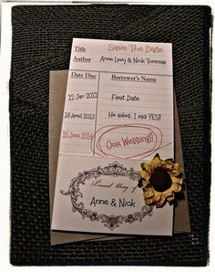 Save The Date Library Card / Engagement by cuteNtrendy on Etsy, $150.00