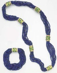 A SUITE OF LAPIS LAZULI, SAPPHIRE AND ENAMEL JEWELRY, by Jean Schlumberger