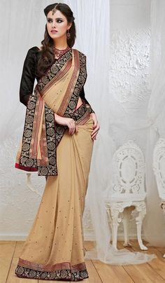 17927277f Beige Chiffon Embroidered Party Wear Designer Saree. Product Code  G3-LS8164  Price