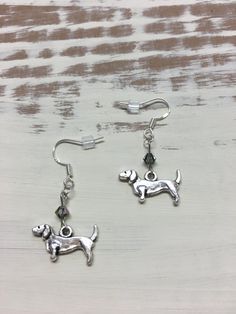 DACHSHUND EARRINGS Doxie Sterling Post with Swarovski Accent by DoxiesJewelryandMore on Etsy