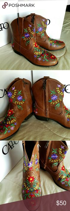 """Embroidered Cow Girl Boot's -Brand:Cato -Size:9"""" -Color:Color shown by picture sometimes too bright compare the original because of the flash.. -Condition:New Never been worn Cato Shoes Ankle Boots & Booties"""