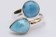 DOMINICAN TEARDROP AND ROUND-SHAPED LARIMAR STONES SILVER RING SIZE 7.75 JEWELRY #DominicanLarimarStone #FashionRing
