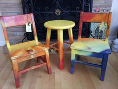 """Hand Painted Upcycled Vintage OAK Old School House Children's Chair """"Sunny Days"""" Sweet Sunshine Tie Dye Style Colorful Kids Decor Baby Gift on Etsy, $45.00"""
