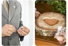 Porta aliança em madeira rústica.