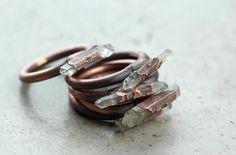 Crystal Ring Electroformed Copper Ring Crystal by CoastalAlchemy