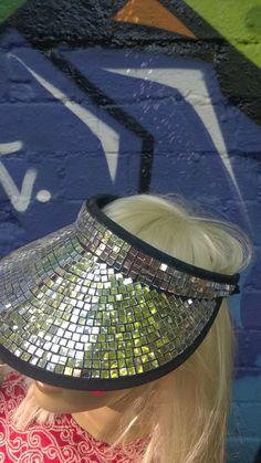 GOLD Mirror Ball Disco Ball Visor SINGLE SIDED Hat Festival Party Glitter Sequin Fancy Dress Baseball Cap Mosaic
