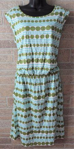 BODEN Cap Sleeve Dress White Blue Green Womens US 12L Tall UK 16L Cotton Blend #Boden #ShiftSundress #Casual