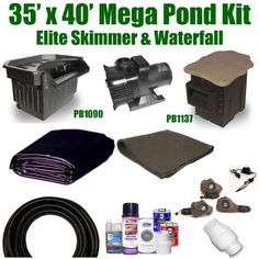 "35 x 40 Mega Koi Pond Kit 8,000 GPH Pump Pondbuilder Elite Skimmer & Elite Waterfall MP3 by Patriot. $2617.50. Liftgate Service is Not Included. Contact Carrier For Liftgate Service Which Is An Additional $85.00. Ships Truck Freight - Additional Carrier Charges May Apply. 35 x 40 EPDM LifeGuard Liner (lifetime warranty) and 1,400 Square Feet of Underlayment, Pondbuilder Elite Skimmer PB1137, Ponbuilder Elite Waterfall PB1090, MS-8,000 GPH Monsoon Hybrid Drive Pump. 3"" x..."