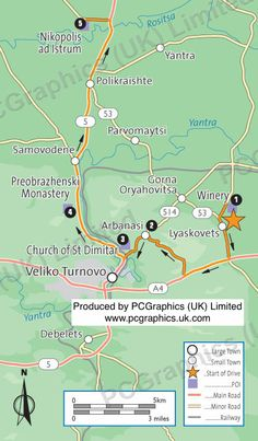 Map of central Ruse Bulgaria produced by PCGraphics UK Limited