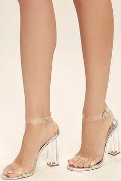 c7c3f8a9318 Sexy Clear Heels - Lucite Heels - Block Heels - Silver Heels -  45.00   AnklestrapsHeels