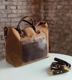 Crafted in water-resistant waxed canvas
