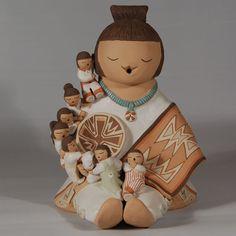 Indian Storyteller Bracelets | Isleta Pueblo Storyteller with 7 Children of a Diné (Navajo) Female ...