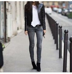 Cool-girl style inspiration  Barbara Martelo in a basic white tee skinny  grey jeans   leather jacket ecd5e3774f