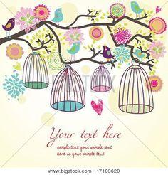 Liberdade conceito.  Os pássaros são livres   Banco de vetores