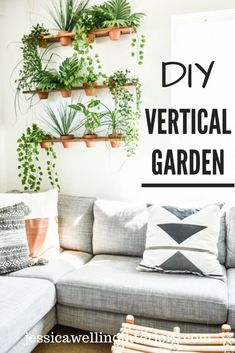 DIY Indoor Vertical Garden - Build a unique indoor DIY vertical garden for your faux plants. This hanging garden living wall is the perfect thing to add Boho style to your home or apartment. Living Wall Planter, Wall Planters, Diy Living Wall, Concrete Planters, Hanging Planters, Living Room, Do It Yourself Quotes, Indoor Plant Pots, Indoor Gardening
