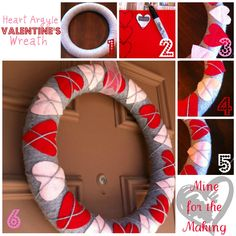 Heart Argyle Valentine's Wreath {tutorial} - Mine for the Making - This is adorable, I am going to make this for V-Day!